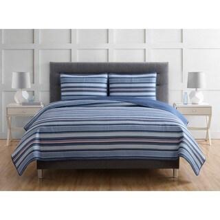 Truly Soft Nautical Stripe 3-piece Cotton Quilt Set