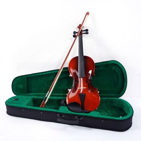 4/4 Acoustic Violin, Case, Bow, Rosin, Strings, Tuner, Shoulder Rest Natural
