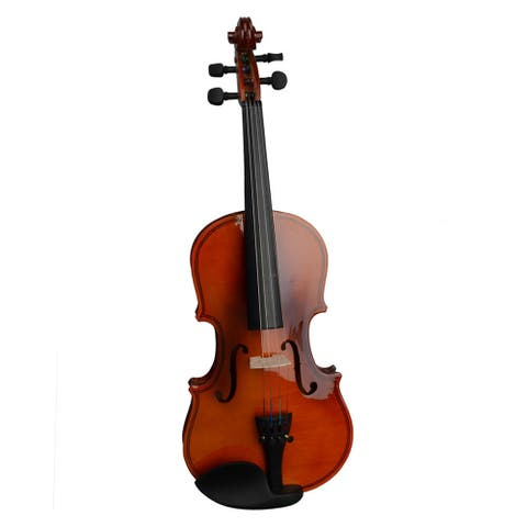 1/4 Acoustic Violin with Case, Bow, Rosin, Strings, Tuner, Shoulder Rest Natural