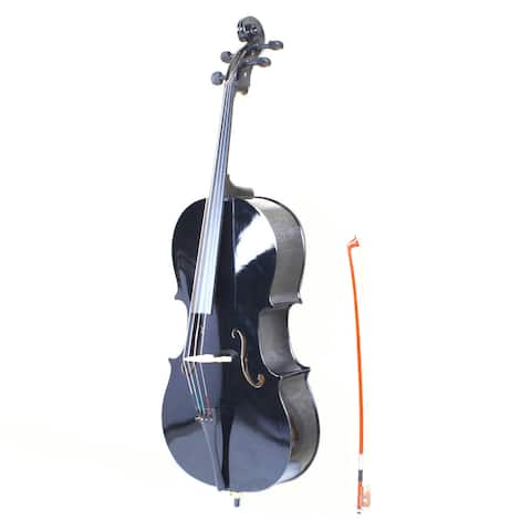 4/4 Wood Cello, Bag, Bow, Rosin, Bridge Black