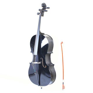 4/4 Wood Cello, Bag, Bow, Rosin, Bridge Black
