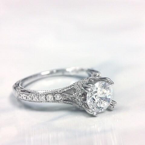 Lihara and Co. 18K White Gold 1/4ct TDW Semi-Mount Diamond Engagement Ring (G-H, VS1-VS2) - White G-H