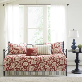 Madison Park Georgia Red 210 Thread Count Cotton Twill Reversible 6 Piece Daybed Set