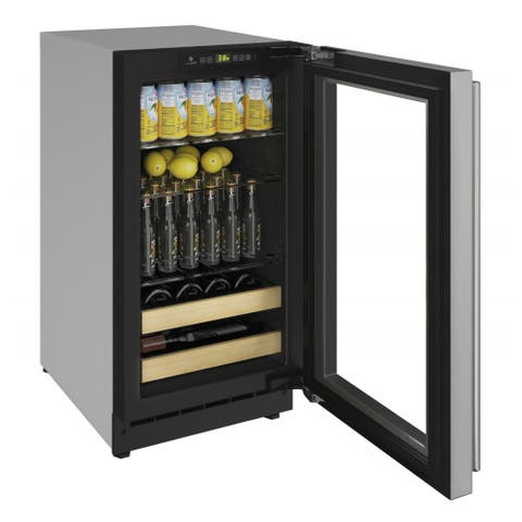 "U-Line Beverage Center 18"" Reversible Hinge Stainless Steel Solid Door - 115v"