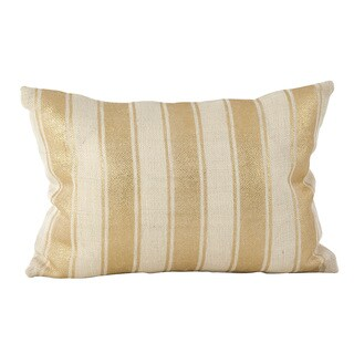 Metallic Foiled Stripe Design Burlap Jute Down Filled Throw Pillow