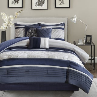 Link to Madison Park Anderson Navy 7 Piece Comforter Set Similar Items in Comforter Sets