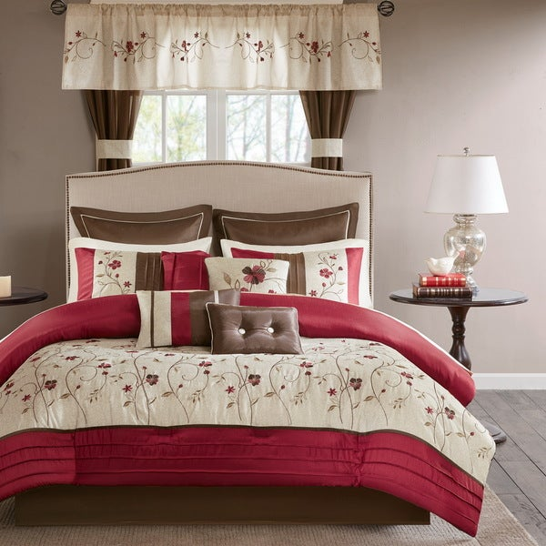 Madison Park Essentials Emily Red 24 Piece Room in a Bag- Window Panels & Sheet Set Included