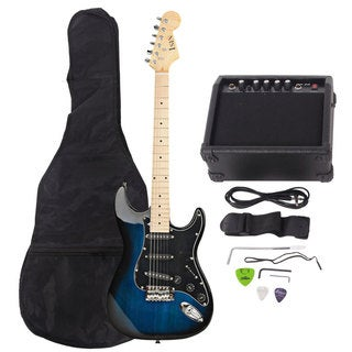 ST Burning Fire Style Stylish Electric Guitar with Black Fender Dark Blue