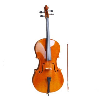 4/4 Wood Cello, Bag, Bow, Rosin, Bridge Natural