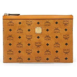MCM Medium Heritage Cognac Top Zip Pouch|https://ak1.ostkcdn.com/images/products/16049313/P22437815.jpg?impolicy=medium