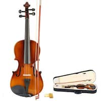 New 3/4 Acoustic Violin, Case, Bow, Rosin Natural