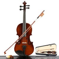 New 1/4 Acoustic Violin, Case, Bow, Rosin Natural