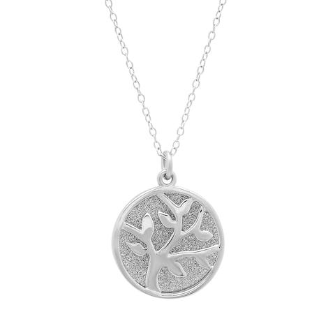 Marabela Sterling Silver Glitter Tree of Life Pendant Necklace
