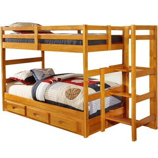 Cambridge Franklin Honey-finished Wood Twin-over-twin Easy-step Bunk Bed