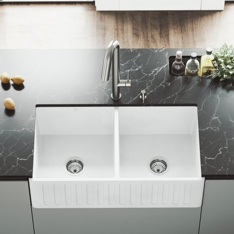 VIGO White 33-inch Matte Stone Double Bowl Farmhouse Kitchen Sink