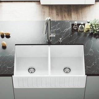 "VIGO 33"" Matte Stone Double-Bowl Farmhouse Sink"