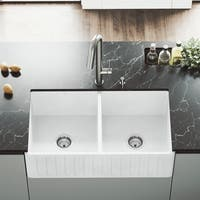 VIGO 33-inch Matte Stone Double Bowl Farmhouse Sink