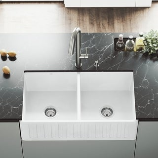 VIGO 33-inch Matte Stone Double-Bowl Farmhouse Sink