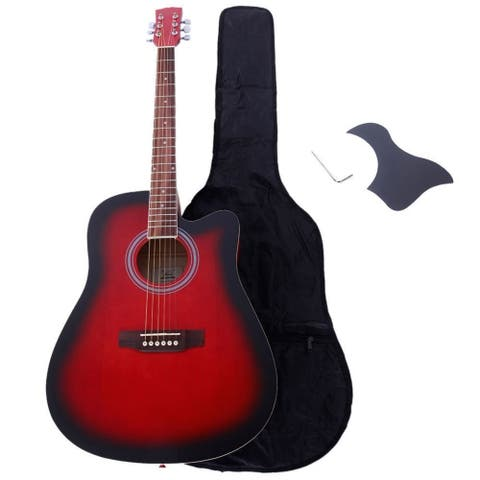 Glarry GT502 41 inch Spruce Front Cutaway Folk Guitar with Bag & Board & Wrench Tool Gradient Red