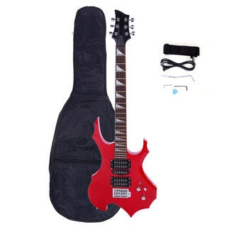 Link to Professional Flame Type Electric Guitar, Guitar Bag, Strap, Pick, Tremolo Bar, Link Cable Set Red Similar Items in Guitars & Amplifiers