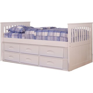 Cambridge Hillcrest White Twin-Size Bed Frame With Build-in Storage and Slide-Out Trundle
