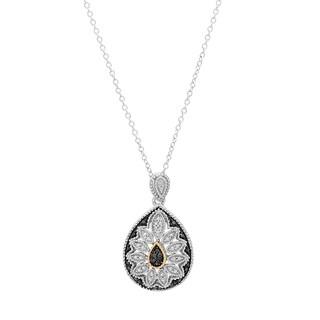 Marabela Art Deco black diamond Tear Drop Pendant in Sterling Silver and 14k