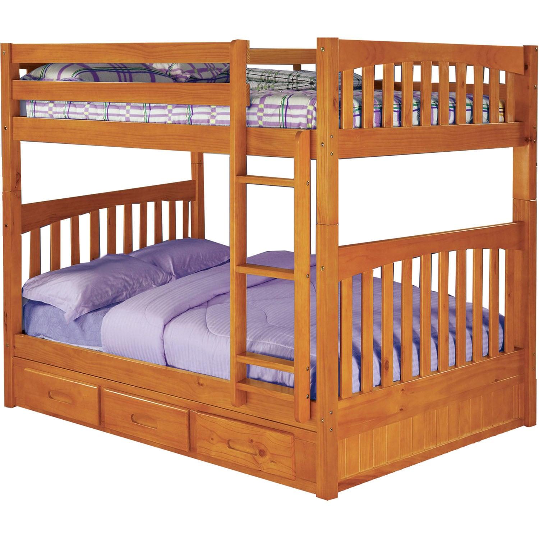 Cambridge Parkview Full-Over-Full Bunk Bed (Honey), Tan