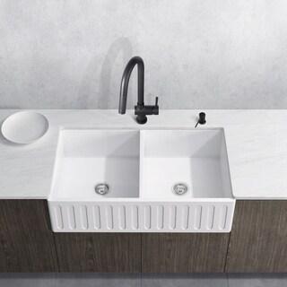 VIGO 33-inch Matte Stone Double-Bowl Farmhouse Sink Set With Gramercy Matte Black Faucet