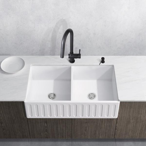 VIGO Matte Stone Double Bowl Kitchen Sink and Gramercy Faucet Set