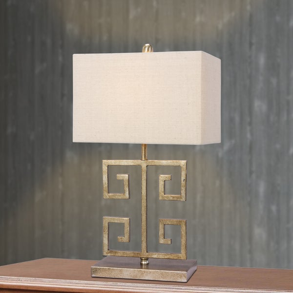 Fangio Lighting's 22.5 in. Metal Table Lamp in an Antique Gold Finish