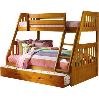 Cambridge Stanford Honey Pine Twin-over-Full Bunk Bed with Slide-out Trundle