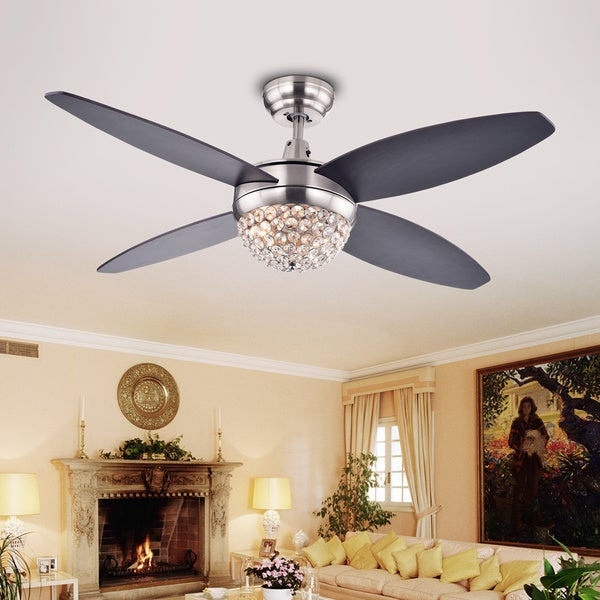 Shop harvin 4 blade 2 light wood satin nickel crystal ceiling fan harvin 4 blade 2 light wood satin nickel crystal ceiling fan with remote mozeypictures Image collections