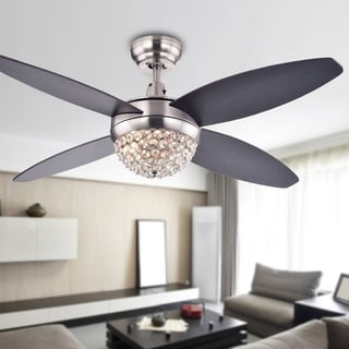 Harvin 4-blade 2-light Wood Satin Nickel Crystal Ceiling Fan with Remote - Brown