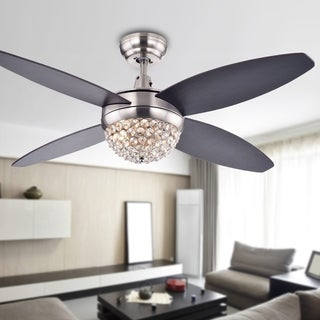 Warehouse of Tiffany Harvin Satin Nickel Wood/Crystal 4-blade 2-light Ceiling Fan with Remote