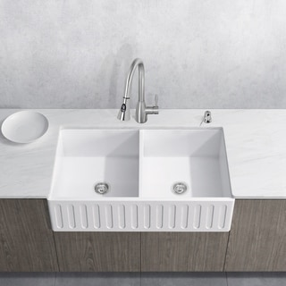 VIGO All-In-One 33 Matte Stone Double Bowl Farmhouse Sink Set With Aylesbury Faucet In Stainless Steel