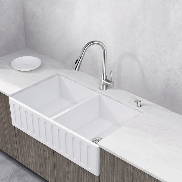 VIGO 33-inch Matte Stone Double-Bowl Farmhouse Sink Set With Aylesbury Stainless Steel Faucet