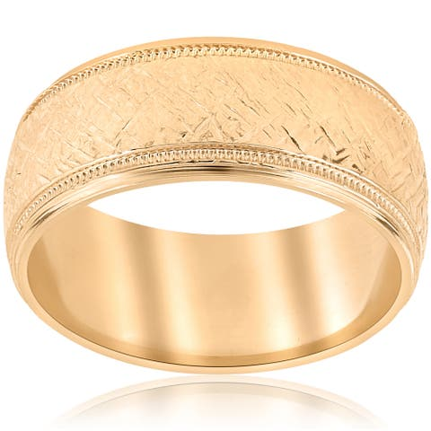 10k Yellow Gold Mens Two Tone Wedding Ring Mans Ring 8MM Hand Etched Unique Milgrain Vintage Accent