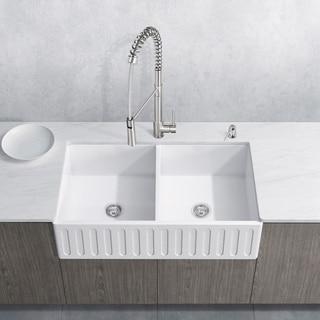 "VIGO 33"" Matte Stone Double-Bowl Farmhouse Sink Set With Laurelton Stainless Steel Faucet"