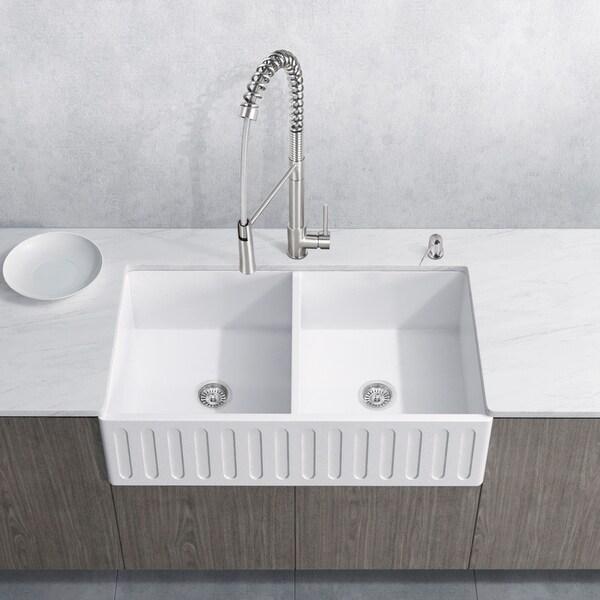 VIGO Matte Stone Double Bowl Kitchen Sink Set with Laurelton Faucet