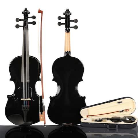 New 3/4 Acoustic Violin, Case, Bow, Rosin Black