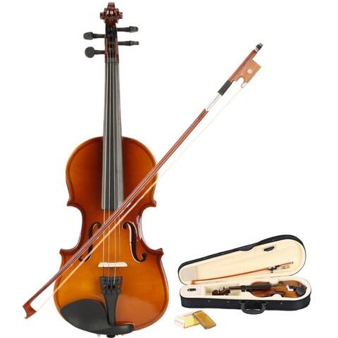 New 1/8 Acoustic Violin, Case, Bow, Rosin Natural