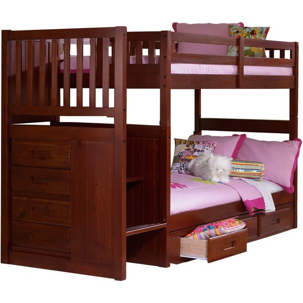 Shop Cambridge Springside Twin Over Twin Staircase Bunk Bed Free