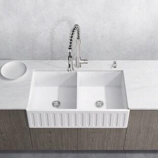 VIGO 36-inch Matte Stone Double-Bowl Farmhouse Sink Set With Edison Stainless Steel Faucet