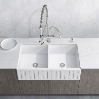 "VIGO 36"" Matte Stone Double-Bowl Farmhouse Sink Set With Dresden Stainless Steel Faucet"