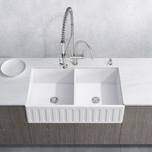 VIGO White Double Bowl Kitchen Sink Set with Dresden Faucet