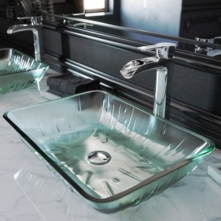 VIGO Rectangular Icicles Glass Vessel Bathroom Sink