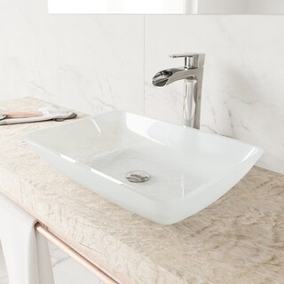 VIGO Rectangular White Frost Glass Vessel Bathroom Sink