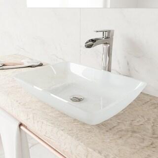 VIGO Rectangular White Frost Glass Vessel Bathroom Sink   White Frost
