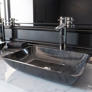 VIGO Rectangular Gray Onyx Glass Vessel Bathroom Sink