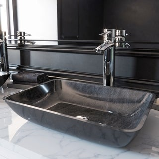 VIGO Rectangular Grey Onyx Glass Vessel Bathroom Sink